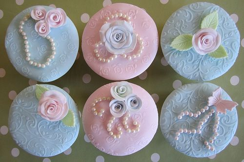 Vintage Embossed Pastel Cupcakes_    via Mrs Baker's Cakes