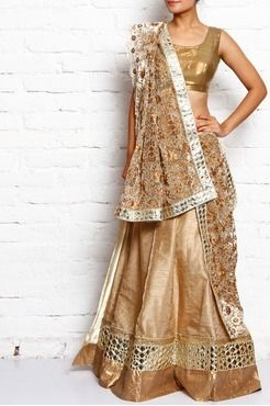 gold embroidered bhagalpuri silk unstitched lehenga