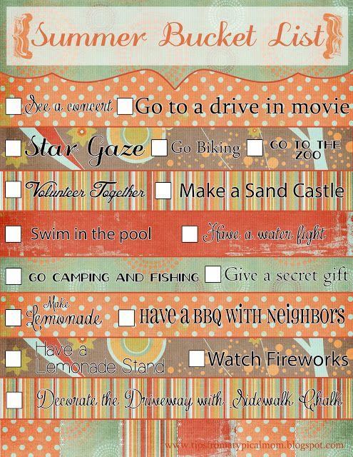 {Summer Bucket List} Printable