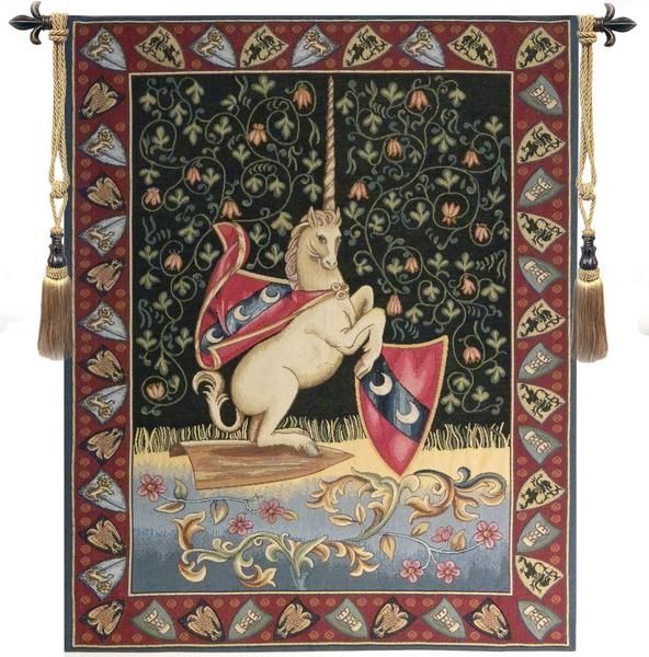 Woven in Italy History: Unicorn Medieval is an Italian jacquard wall tapestry. Pictured is a rampant unicorn bearing the coat of arms of Jean La Viste. It has a