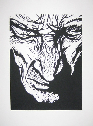 Good site for Block print examples - Old man by anonymous hands, via Flickr
