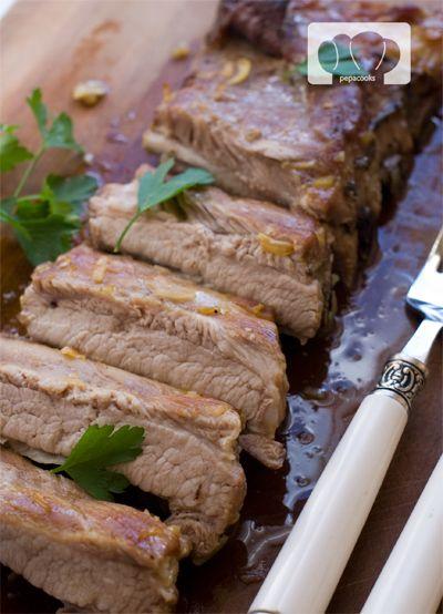 receta de costillas de cerdo al horno con salsa de cebolla