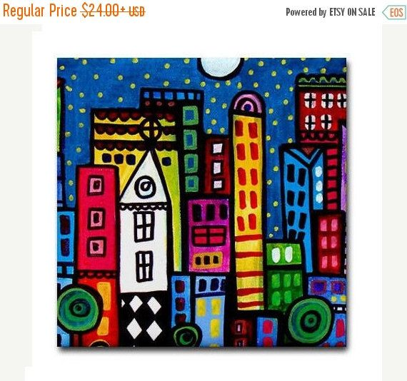 50% OFF Today- NY New york City art Tile Ceramic Coaster Mexican Folk Art Print of painting by Heather Galler