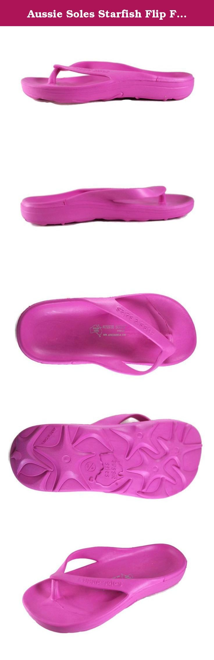 Aussie Soles Starfish Flip Flop Thong Sandals, Unises Youth (33 (US 2.5), Fuchsia). The extremely comfortable flip flop made from our unique AusLite anti bacterial polymer foam offering true arch support for the perfect fit. The Starfish is available in a number of solid and uniquely blended colors adding fun and style to your sole. This slip resistant foam has a starfish design on the sole leaving an impression on every beach. This attractive flip flop is made from a single injection…