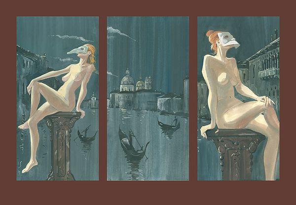 Night In Venice. Triptych by Igor Sakurov. #Venice #RussianArtistsNewWave #IgorSakurov #Woman #Nude #OldEurope #Painting #ArtForSale #HighEndArt #Italy #Gondola #Europe #OriginalPainting #ArtForSale #Night #OilOnCanvas #VenetianMask #Night #Gouache