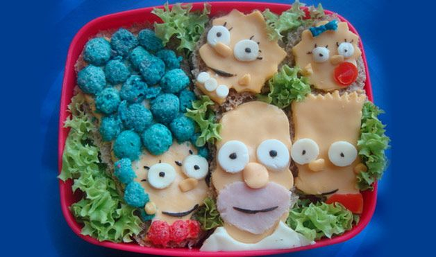 According to artist Jana Al Ghunaim, this Simpson family bento box was fun and easy to make. Using cheese for their heads and black olives for the eyes, she created mini sandwiches by placing them atop whole-wheat bread. Meanwhile, Marge's hair and necklace are made from Cap'n Crunch cereal. Photo courtesy of Jana Al Ghunaim via Flickr.com.