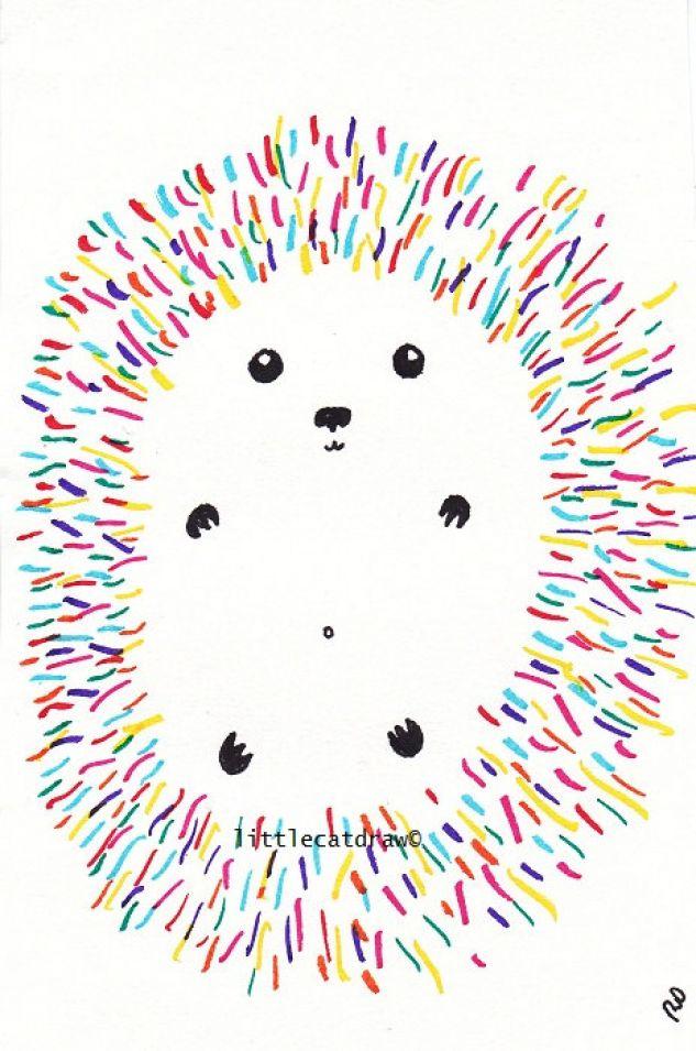 Fun Little Rainbow Hedgehog Art Print Drawing