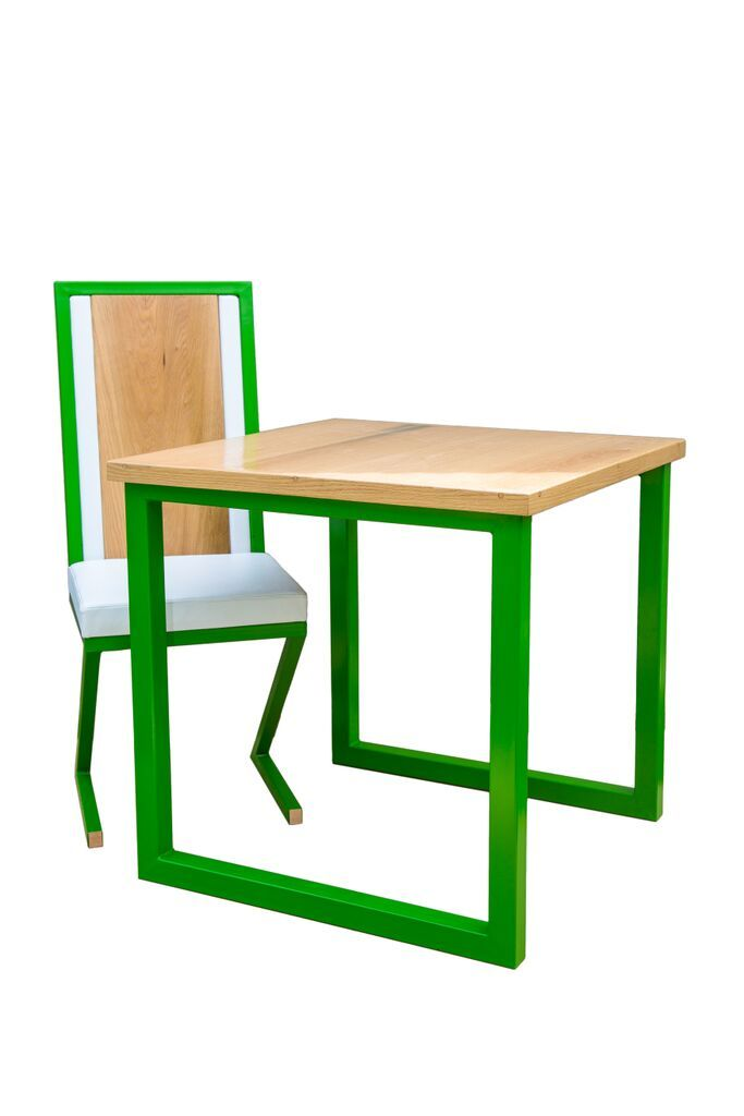Oak dining table and chair design.
