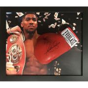 #All Star Signings Anthony Joshua Signed and Framed Glove with #Anthony Joshua won the IBF heavyweight title in April 2016, having previously held the British, Commonwealth, and WBC International heavyweight titles. As an amateur he represented Great Britain at the 2012 Olympics, winning a gold medal in the super-heavyweight division. Joshua is the second British boxer, after James DeGale, to win both a gold medal at the Olympics and a world title by a major professional sanctioning body, as…