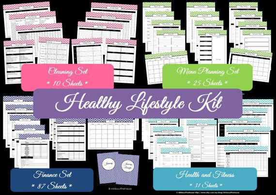 EDITABLE Healthy Lifestyle Kit Chevron Printables Finance Set Cleaning Meal Planning Household Binder Health & Fitness - Binder Covers -PDF