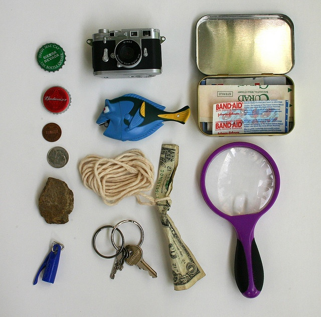 """""""Every spy needs supplies for surveillance, trapping bad guys and getting out of sticky situations, so we looked around the house for items we could put together into a little spy kit. This is what we came up with:"""