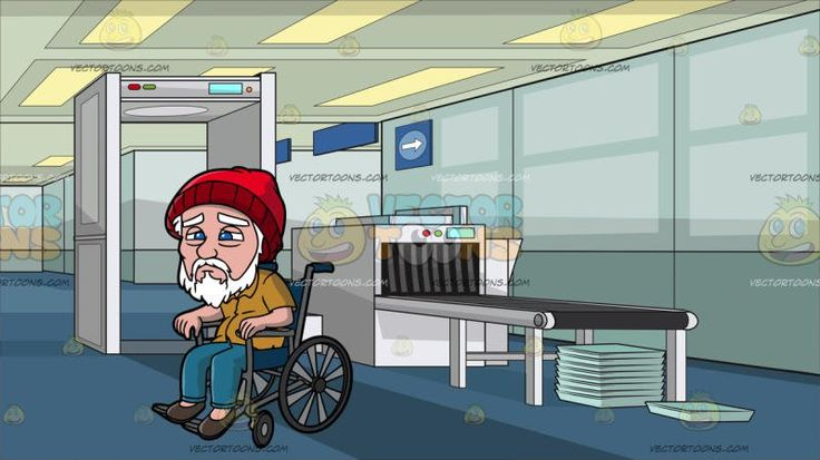 A Weak Old Man In A Wheelchair At Airport Security Check:  An old man with white hair mustache and beard wearing a red beanie mustard yellow polo shirt with buttons teal pants and dark brown shoes frowns while sitting on a wheelchair . Set in an airport security check with a white metal detector luggage scanning machine with a gray conveyor belt light teal trays stacked in top of one another blue carpet paneled ceiling.