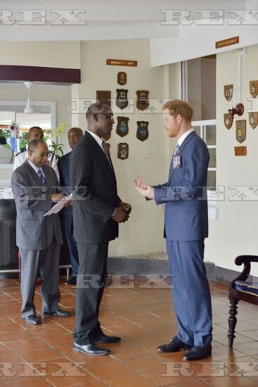 Prince Harry visit to the Caribbean - 30 Nov 2016  Prince Harry meets guests at the Officers' Mess, St Ann's Fort near Bridgetown, Barbados  30 Nov 2016