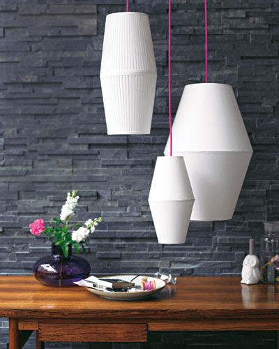 DIY lampshades made of two Ikea lampshades glued together