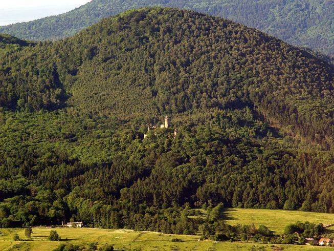 Landscape under Milešovka mountain with Kostomlaty castle (North Bohemia), Czechia
