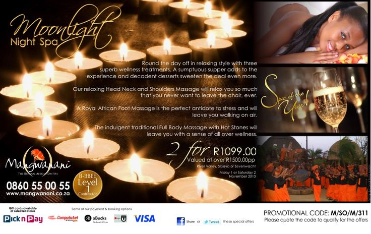 Wind down with Wellness. Take advantage of this weekend night spa special now before it fills up!  #Mangwanani
