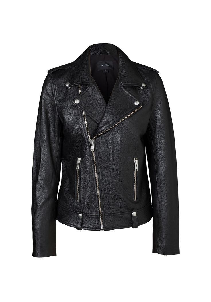 ENA PELLY - Minimalist Biker Jacket (Silver Hardware)
