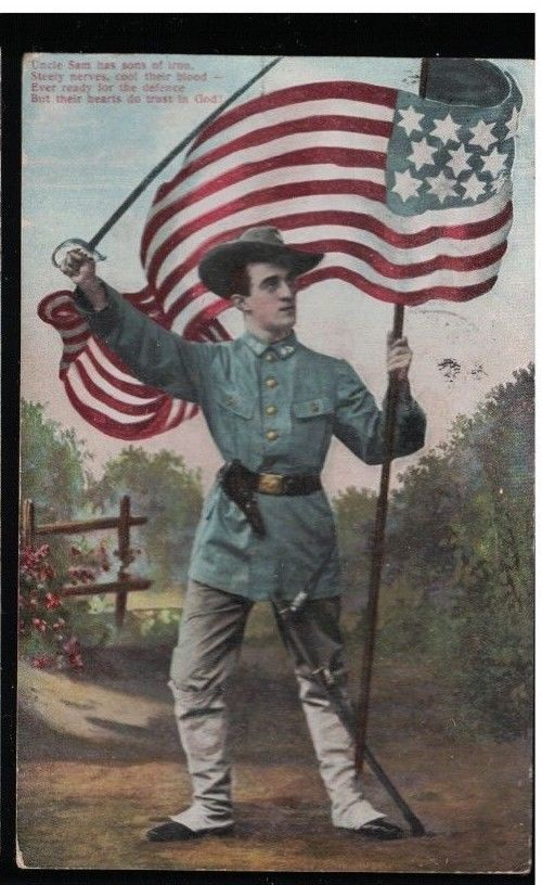 1909 US Army Soldier With Sword & Sidearm & Leggings Holding American Flag PC