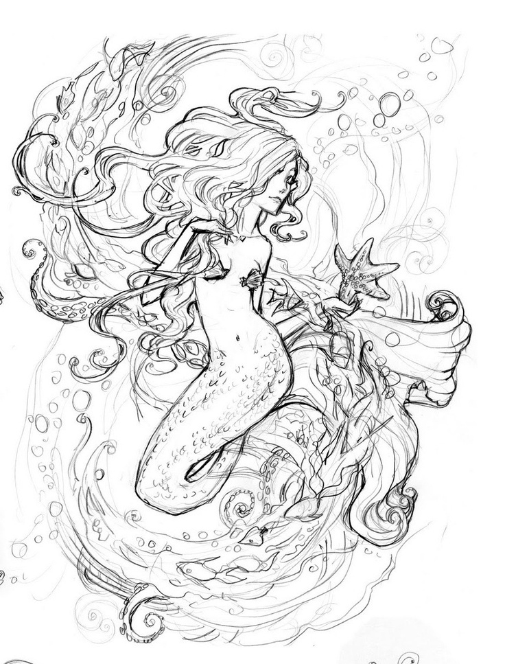 #Mermaid tattoo sketch http://tattoo-ideas.us