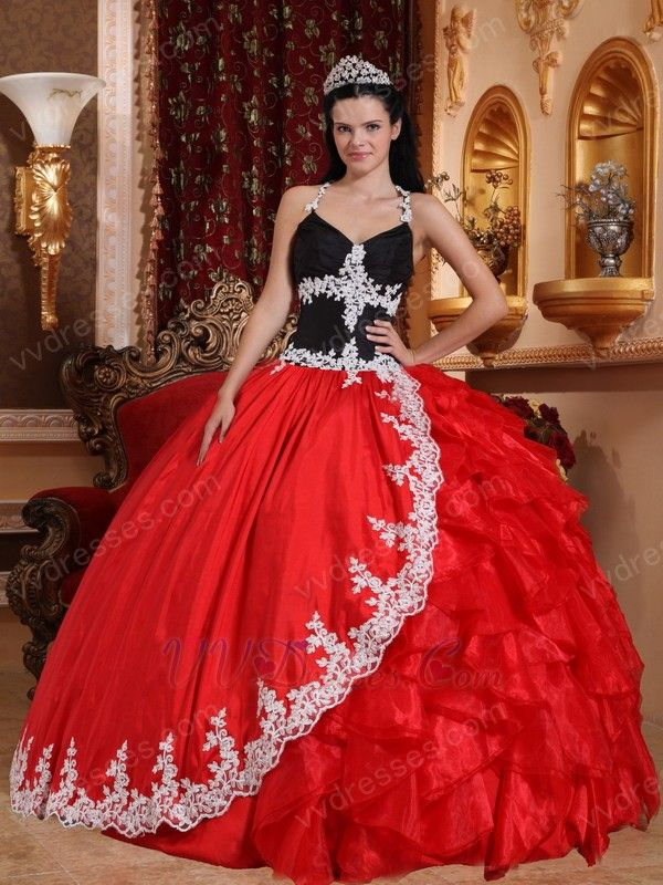 1736c1298c6 Black And Crimson Red Quinceanera Party Sweet 16 Girl Dress ...