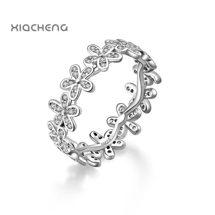 2016 100% 925 sterling Zilver Vrouwen Trouwringen met Volledige Kristal Bloem Ring Fit Vrouwen Ningbo Pandora Sieraden R09