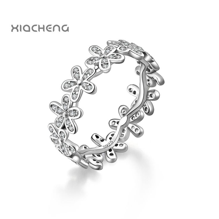 2016 100% 925 sterling Silver Women Wedding Rings with Full Crystal Flower Ring Fit Women Ningbo Pandora Jewelry R09
