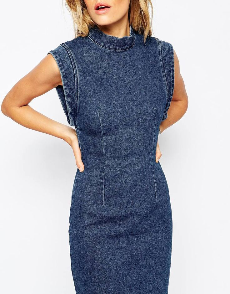 Image 3 of Rollas Denim Dress With Open Back Detail