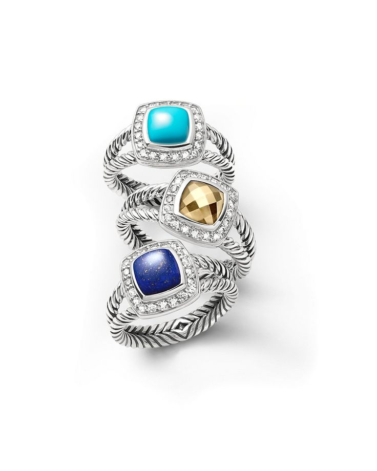 David Yurman Petite Albion Rings with Gemstones and Diamonds - Sterling silver rings with brilliant diamonds frame colorful gemstones. Part of The Petite Albion Collection, these David Yurman styles add rich color to your signature look.