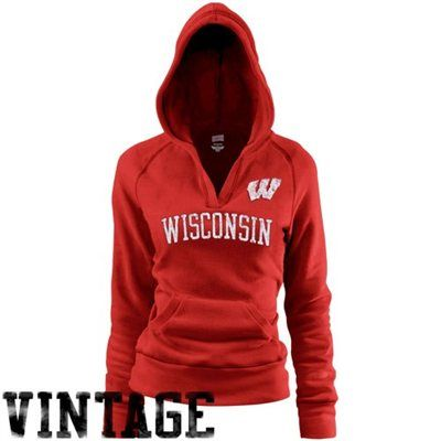 Wisconsin Badgers Ladies Cardinal Rugby Vintage Hoodie Sweatshirt