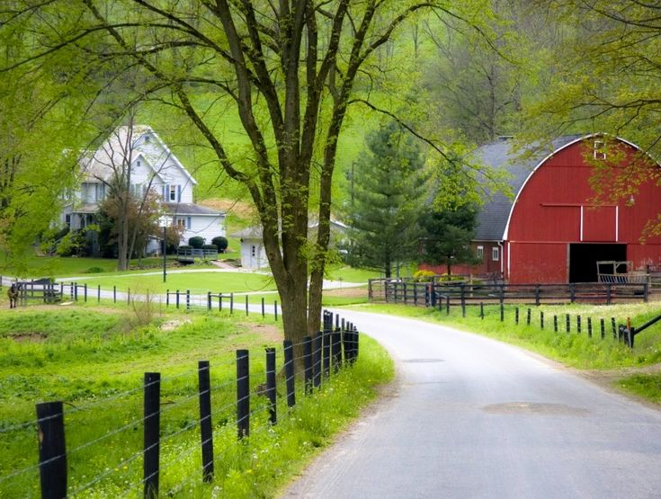 ***Red barn and house (Ohio) by David Frazier