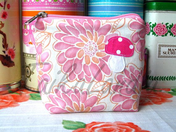 Mushroom Make-Up Bag  Light Pink mushroom Cosmetic by TaikaLand