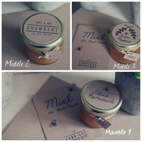 Cadeaux invités : petit pot de miel 30 gr par Lafabrique31 sur Etsy