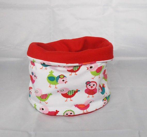 Kinder-Loop rode fleecekindersjaal witvogeltjeswintersjaal