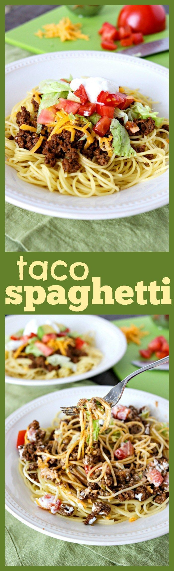 Taco Spaghetti - A fun, new way to enjoy Taco Tuesday! Taco spaghetti is an easy weeknight meal that is perfect for the whole family! (Baking Pasta Spaghetti)