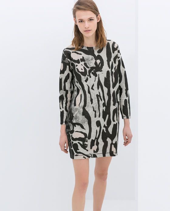 Image 1 of PRINTED VELOUR DRESS from Zara