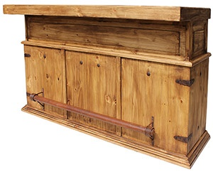 "You don't have to have a belly to ""belly up"" to this attractive and affordable bar.  Wine racks, shelves, drawers and a cabinet give you all the space you need to store your drink mixing products.  Made by hand in Mexico, the solid pine has a rustic distressed finish that is durable. The southwestern style compliments many other furniture designs and even includes an iron foot rest."