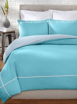 71% OFF OYO Bedding Taped Stone Wash Duvet Set (Turquoise/White)