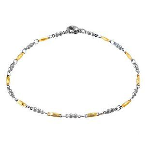 Two-tone Stainless Steel Diamond and Beads Anklet (9 inch) Kooljewelry. $14.99