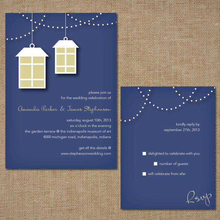 wedding invitation set lights and lanterns by springlakestationery - Lantern Wedding Invitations