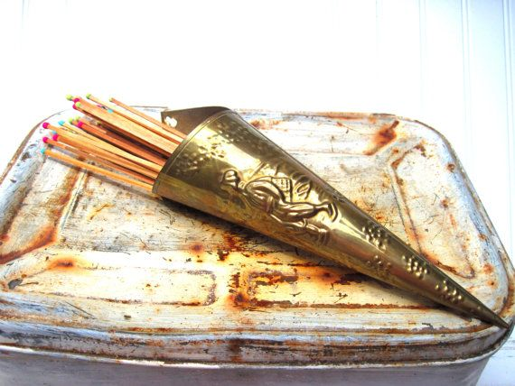 Vintage matchstick holder brass fireplace accessory hearth decor cone