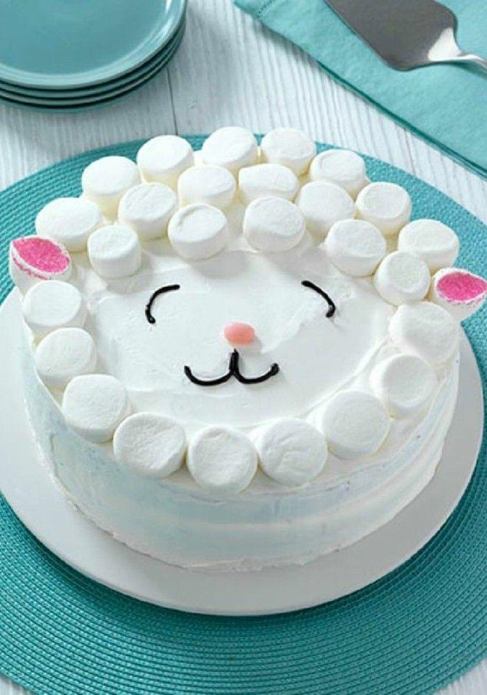 tartas faciles con marshmellow, tartas para cumpleaños, blanco crema