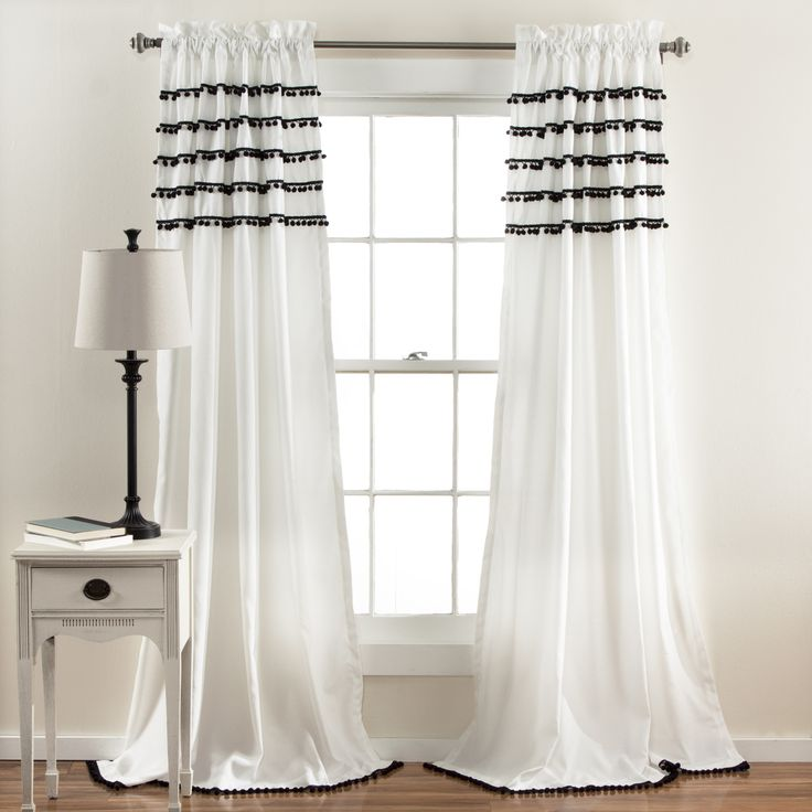 "Simple and elegant, the colorful pom pom tassel rows hanging from the top adds a delicate touch of pizzazz to the solid color window curtains. Perfect addition in kids to adults bedrooms. 3"" rod pocke"