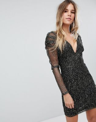 9670889a76 Shop Boohoo Mesh And Sparkle Plunge Neck Dress at ASOS.