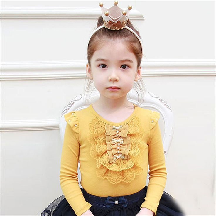 >> Click to Buy << Spring Fashion Girls Long Sleeve Yellow Blouses Lace Bowknot Shirts Bottoming Beige Children's Shirt Christmas Gifts #Affiliate