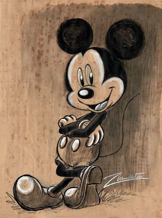 VINTAGE MICKEY MOUSE - Original Acrylic Painting - Vendetta, Z. - W.B