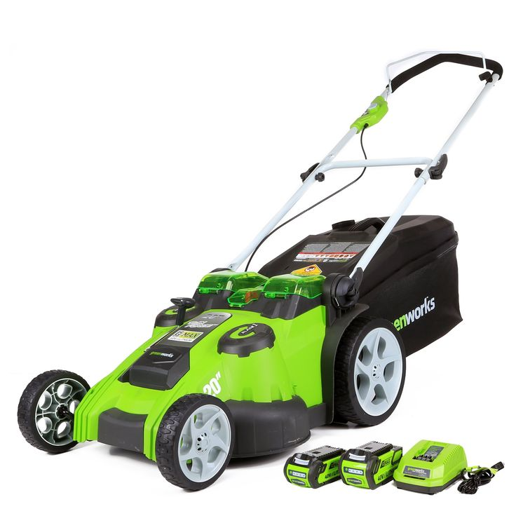 GreenWorks Cordless Lawn Mower w/ 2 Batteries & Charger