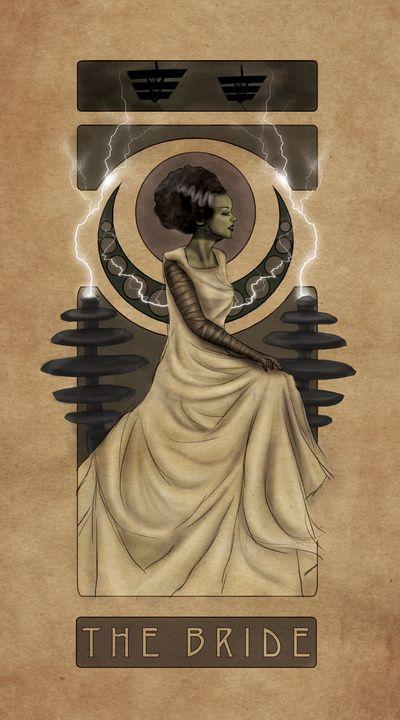 Bride of Frankenstein Nouveau Art Print, by Hallowette