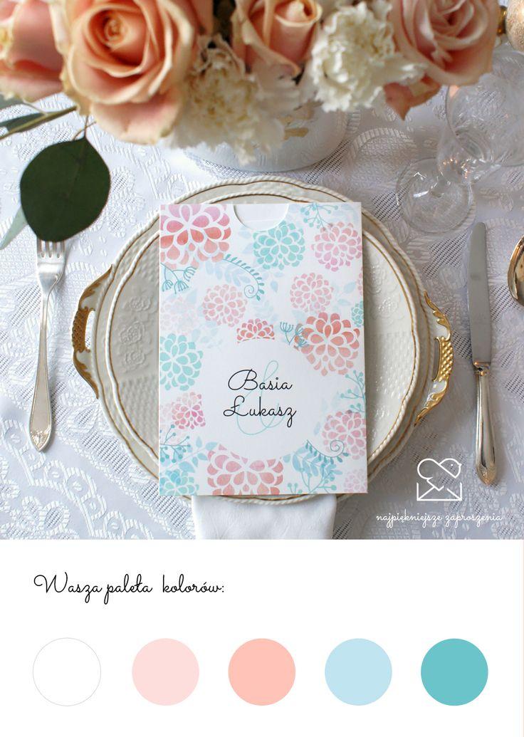 Motyw ogrodowy - papeteria ślubna  zaproszenia ślubne // Summer garden wedding stationery theme, mint peach flowers wedding invitations, color palette inspirations http://najpiekniejsze-zaproszenia.pl/motyw-ogrodowy/