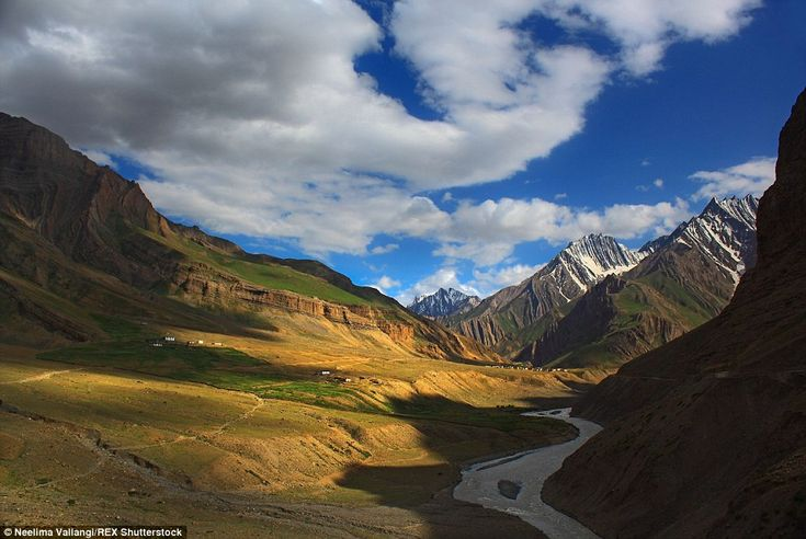 Pin river meanders through the high mountains of Pin Valley in Himachal Pradesh, a remote part of northern India with Tibetan influences