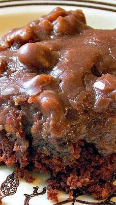 Texas Sheet Cake _ The recipe for this started showing up in the early 1960s. Why was it named after Texas? Some say it's because it makes such a large cake, or it's so rich that you can eat only a small piece - meaning one cake will serve a Texas-size crowd! (Southern desserts)